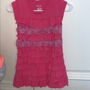 Pink ruffle short sleeve dress
